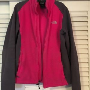 Pink and gray north face fleece